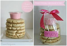 Sugar cookies with frosting as a gift. Put frosting in a container so recipient can frost to their heart's desire and cookies don't end up a gooey mess. 4men1lady.com