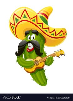 Buy Green Cactus Character for Cinco De Mayo by Aleksangel on GraphicRiver. Character for Cinco de Mayo celebration. Green cactus jalapeno in suit mariachi with guitar and sombrero. Middle Finger Emoji, Guitar Drawing, Holidays To Mexico, Cactus Illustration, Green Cactus, Mexican Party, Color Pencil Art, Disney Art, Clipart