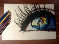 Eye colored pencil art
