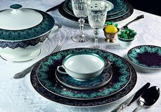 """Inspired by the adornments on a 17th century poetry manuscript, the Dhara Peacock dinnerware collection by Deshoulières brings an intricately designed Persian style to your table.#ShopIt on #AlchemyFineHome"" by @alchemyfinehome. #eventplanner #weddingdesign #невеста #brides #свадьба #junebugweddings #greenweddingshoes #destinationweddingphotographer #dugunfotografcisi #stylemepretty #weddinginspo #weddingdecor #weddingstyle #destinationwedding #weddingflowers #weddingdetails #luxurywedding…"