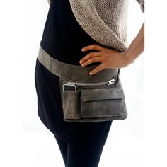 Gray Leather Hip Bag, bum bag, fanny pack, travel pouch, belt pocket ($160) ❤ liked on Polyvore featuring bags, fanny bag, leather bum bag, travel waist bag, leather bags and leather belt bag
