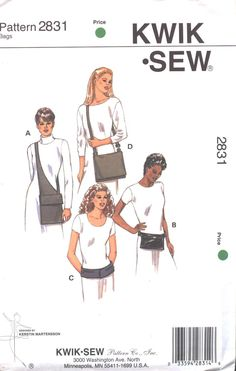 Kwik Sew 2831 Purse, Fanny Pack, and Shoulder Bag Sewing Pattern UNCUT. $6.50, via Etsy.