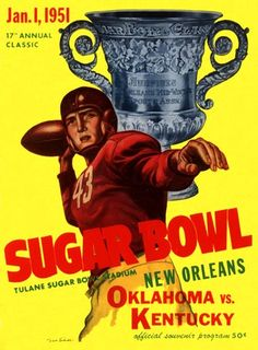 19501 Sugar Bowl. Kentucky-Oklahoma. Vintage game program. HistoricFootballPostersBlog.com