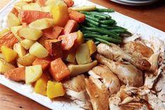 Гарнир из поджаренных в духовке картофеля, пастернака и моркови Картошка, Цыпленок, Мясо, Овощи, Еда