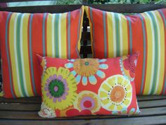 Bright Stripes Indoor Outdoor Pillow Cover  18 by SouthendDesign, $20.00