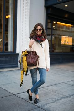 18 Cozy Fall Looks Spotted In S.F. #refinery29 What She's Wearing: Sam Edelman shoes, Madewell jeans, bag, and bag scarf, and H&M sweater and scarf.