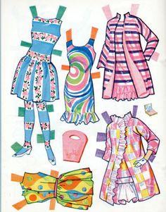 Vintage-Whitman-Barbie-Christie-Stacey-paper-dolls-1968-uncut-MOD-ERA