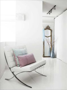 Barcelona chair with pastel accents
