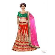 Designer Red Georgette Zari Work Bridal Lehenga Choli - 2057 ( SS-Ambaji-2051 )