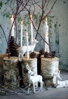 I love the birch wood candle holders, although I'd like it better with thicker candles.