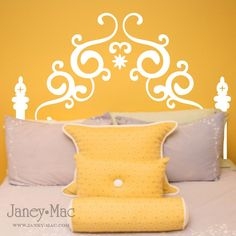 Decal headboard - what a great concept and sooooo inexpensive!