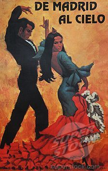 De Madrid al cielo :: Flamenco poster, Madrid, Spain.my father got me one of these, customized with my name on it! Spain Tourism, Spain Travel, Illustrations Vintage, Illustrations Posters, Vintage Travel Posters, Vintage Postcards, Theme Nouvel An, Spanish Heritage, Spanish Culture