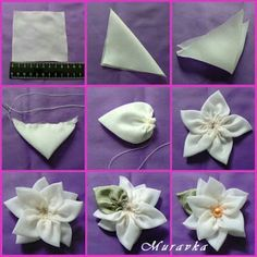 Wonderful Ribbon Embroidery Flowers by Hand Ideas. Enchanting Ribbon Embroidery Flowers by Hand Ideas. Satin Ribbon Flowers, Cloth Flowers, Ribbon Art, Fabric Ribbon, Ribbon Crafts, Flower Crafts, Fabric Flowers, Fabric Crafts, Flower Diy