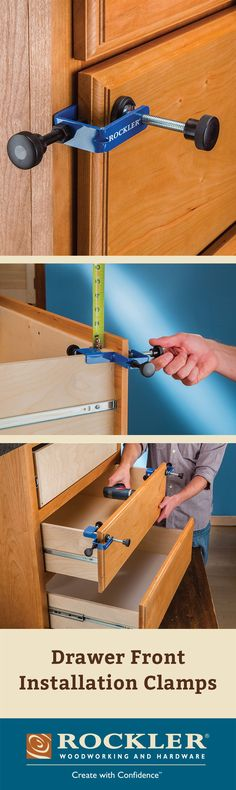 Drawer Front Installation Clamps These handy clamps hold drawer fronts firmly in position on the drawer box while you drive the screws.