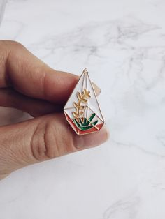 succulent+enamel+pin