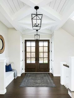 front entry design, front foyer design with front door, modern farmhouse foyer decor with chandelier and front foyer bench Flur Design, Home Design, Interior Design, Design Ideas, Interior Paint, Nest Design, Interior Office, Design Styles, Design Concepts