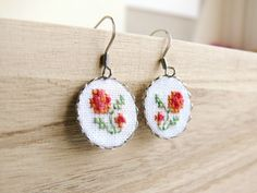 Embroidered floral earrings