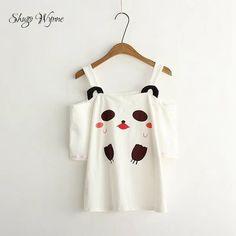 ecd65ed8c6a Shugo Wynne Kawaii Tees 2017 New Women Sweet Summer Cartoon Bear Print  Strapless Short Sleeve T-shirt Tops Japanese Mori Girl