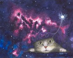 """You would not believe the things this cat has seen. This is Xander. He's a  curious yet shy cat. He likes to burrow under things and has managed to  claw a hole in the fabric of space with his kitty powers. Reproduction of an original art piece. Background was created with  watercolor and the rest done with a watercolor under-layer and colored  pencils over that for details.   Available sizes: - 8x10"""" (paper size: 8.5"""" x 11"""") - 12x16"""" (paper size: 13""""x19"""")"""