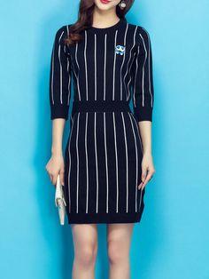 Shop Midi Dresses - Black Stripes Casual Sheath Midi Dress online. Discover unique designers fashion at StyleWe.com.