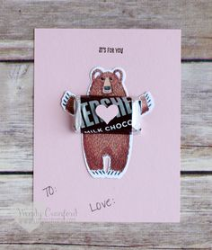 Simple bear valentine made using the Bear Hug stamp set and framelits from 2016 Stampin' UP! Occasions catalog. Created by Wendy Cranford www.luvinstampin.com