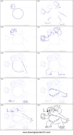 How To Draw Pangoro From Pokemon Printable Step By Drawing Sheet DrawingTutorials101