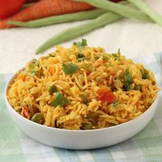 Vegetable Pulao - Spicy Rice Dish with Healthy Vegetables (carrot, green peas, tomato, beans etc.) -  Perfect for Lunchbox -Serve with plain curd or raita in lunch or dinner - Cook this pulav in a pressure cooker or a pan (see tips on recipe page) according to availability. - Step by Step Pictures Recipe