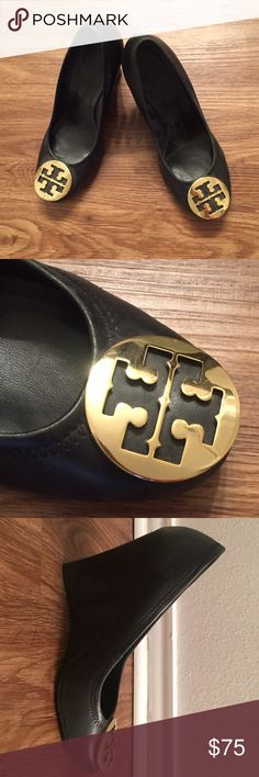 Tory Burch Heels Black Tory Burch pump wedges with gold logo. Normal wear and tear with minor scuffs around the toe and heel but still in good shape. Only worn to work a handful of times. Tory Burch Shoes Heels