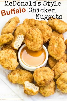 McDonalds Style Buffalo Chicken Nuggets.  Golden Brown & Delicious All White Meat Nuggets Packed Full of Buffalo Flavor.