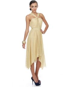 Aryn K Maple Mansions Beige Lace Dress