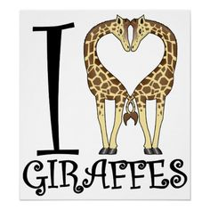 I Heart Giraffes Poster Zazzle com is part of I Heart Giraffes Poster Zazzle Com - Show your love for one of the most graceful and tallest animals in the kingdom! A 'Heart' shape is formed as these two friendly giraffes nuzzle Giraffe Art, Cute Giraffe, Giraffe Quotes, Giraffe Crafts, Giraffe Family, Giraffe Painting, Baby Giraffes, Beautiful Creatures, Animals Beautiful