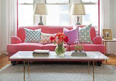 Caitlin Wilson Design - Pink sofa, Caitlin Wilson Textiles Peacock Scallop Pillow, ...