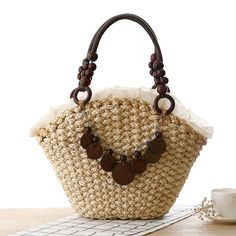Women's Large Straw Beach Tote - Wood Accents