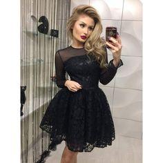 Картинки по запросу платье черное короткое пышное с рукавами