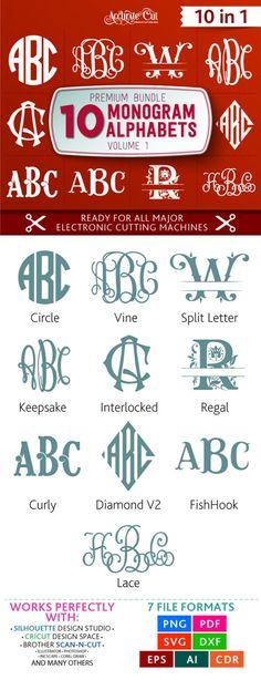 Volume 1 Monogram Font Bundle Svg 10 Monogram Alphabets in Svg, Dxf, Eps, Png, Ai, Pdf and Cdr formats for Silhouette Studio, Cricut, etc