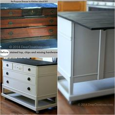 Transform an old dresser into a functional kitchen island with Americana Decor Chalky Finish. #chalkyfinish