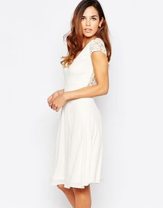 Elise Ryan Skater Dress With Lace Sleeves And Open Lace Back