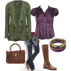 pretty fall outfit...i love purple and olive together