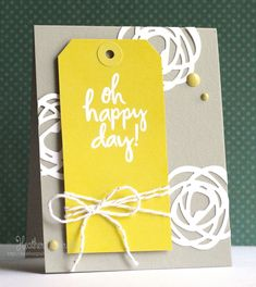 Essentials by Ellen, Whisker Graphics | Just Because, Hello, Thinking of You Card, Flowers, Die Cuts, Heat Embossing, Yellow, Gray, White