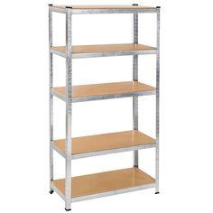 Étagère charge lourde - rangement métallique à 5 niveaux 180x90x40cm en acier + bois 150 kg par niveau