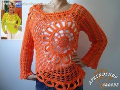 Blusa de Crochê Ana Maria Braga - Aprendendo Croche Beautiful crochet blouse or shirt with large off-center circle on front, made with mm hook and Circulo Charme thread Blouse Au Crochet, Crochet Shirt, Knit Crochet, Crochet Woman, Crochet Videos, Beautiful Crochet, Crochet Crafts, Crochet Clothes, Cardigans For Women