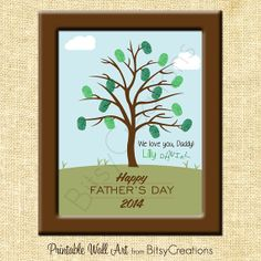 Fingerprint Father's Day Printable Tree Wall Art by BitsyCreations, $5.00