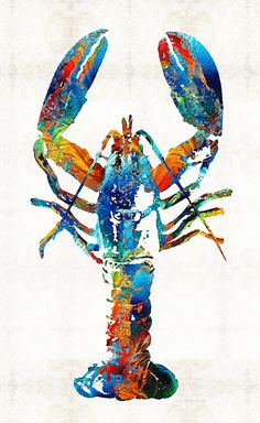 Colorful Lobster Art By Sharon Cummings