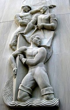 US Art Deco: Bas-relief on the F. Edward Hebert Federal Building, designed by architect Howard Lovewell Cheney in 1939. At 600 South Maestri Place, New Orleans, Louisiana.