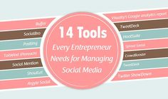 14 Tools Every Entrepreneur Needs for Managing Social Media ?ref=pinp nn The startup ecosystem has never looked better. Most good schools now have active Start-up bodies that helps prepare students for the world of business. There are success-stories abound to inspire more entrepreneurs to take the plunge. However, with many hats to wear, the life of an entrepreneur...