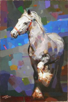 Original Oil Painting White Horse Abstract by MonyArtGallery