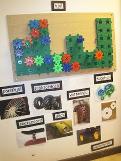 Gears on the wall with photos underneath-Back's technology trip