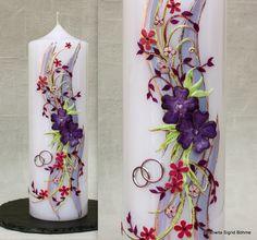 AprilSchrill  Hochzeitskerze Blumenreigen DW 388 von  Kerzenkunst -  Kreatiwita auf DaWanda.com
