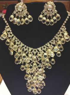 "Vintage 1960s  "" Stunning""  Hobe' Crystal and Rhinestone Waterfall Bib Necklace, and Earrings on Etsy, $275.00"