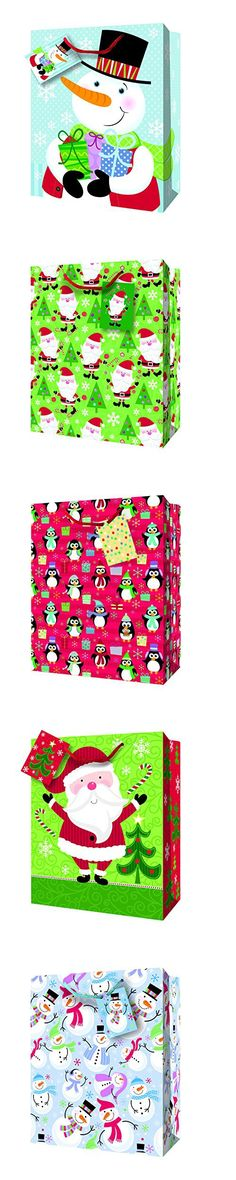 """Festive Christmas Holiday Large Glossy Gift Bags, Multicolor Various Designs, Snowmen, Penguins, Santa, 6 Pack, 13"""" x 17"""" x 4"""""""